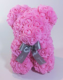 Ursulet floral decorat manual cu trandafiri de spuma Roz 25cm