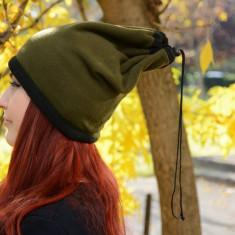 Caciula de dama multifunctionala, de culoare verde inchis