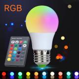 Bec LED RGB, 3W, filament E27, 4 moduri iluminare, 200 lumeni, telecomanda