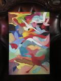 Tablou abstract tablou cu stol de pasari migratoare, tablou multicolor