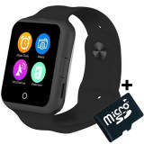 Ceas Smartwatch cu Telefon iUni V88,1.22 inch, BT, 64MB RAM, 128MB ROM, Negru + Card MicroSD 4GB Cadou