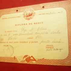 Diploma de Merit la Scoala Elementara Completa Corbu judet OLT 1950