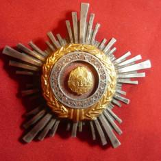 Ordinul Steaua RSR cl.III , argint ,cu pietricele , d= 6,7cm