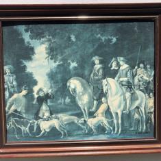 Tablou litografie veche franceza oamen si cai