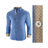 Camasa pentru barbati albastru slim fit casual oxford Business Class Extra