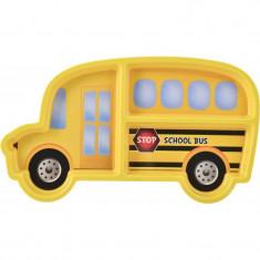 Farfurie melamina Lulabi, forma autobuz scolar, Galben