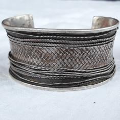 BRATARA argint TRIBALA RAJASTHAN INDIA lata MASIVA reglabila VINTAGE de efect