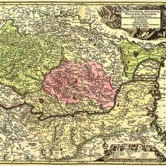 Harta Transilvania, Moldova si Valahia 1730 |