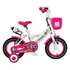 Bicicleta pentru fetite cu roti ajutatoare si cosulet 12 inch Little Monster Pink