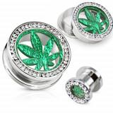 Plug tunel pentru ureche, din oţel, cerc din zirconiu transparent, frunză de marijuana - Lățime: 18 mm