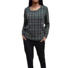 Pantalon lung de dama, de culoare gri inchis, usor captusit