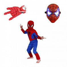 Set costum Spiderman marimea S, masca LED si manusa cu lansator