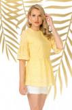 Bluza Pretty Girl galbena de vara cu broderie englezeasca