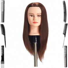 Cap practica manechin salon frizerie coafor Sintetic 50 cm Saten + 6 Piepteni