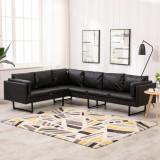 Cumpara ieftin Canapea de colț, negru, piele ecologică