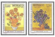 Monaco 1978 - flori-picturi Van Gogh, serie neuzata foto