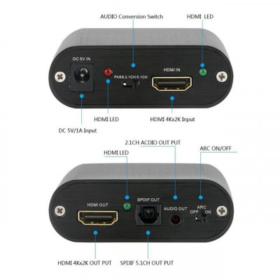 Adaptor HDMI ARC audio Extractor, HDMI la HDMI, Jack 3.5mm si SPDIF Toslink foto