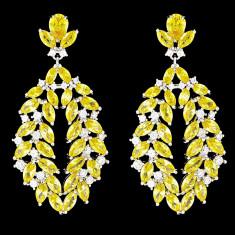 Cercei placati cu Aur 18K si Diamante, Omega Platinum & Yellow