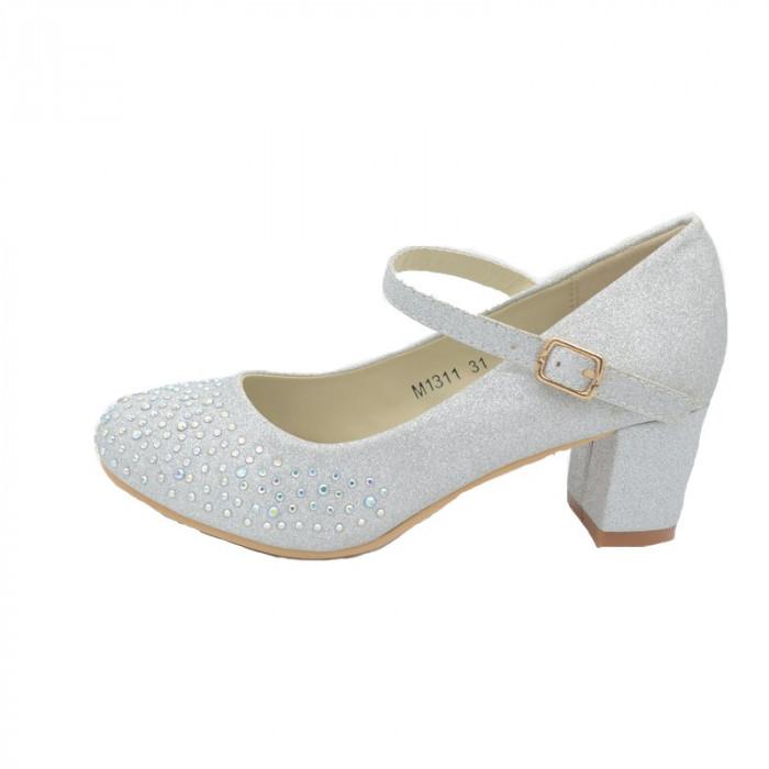 Pantofi cu toc fetite MRS M1311-AR, Argintiu