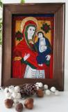Fecioara cu Pruncul-(Nicula,inceput sec.XIX)-Icoana pictata pe sticla