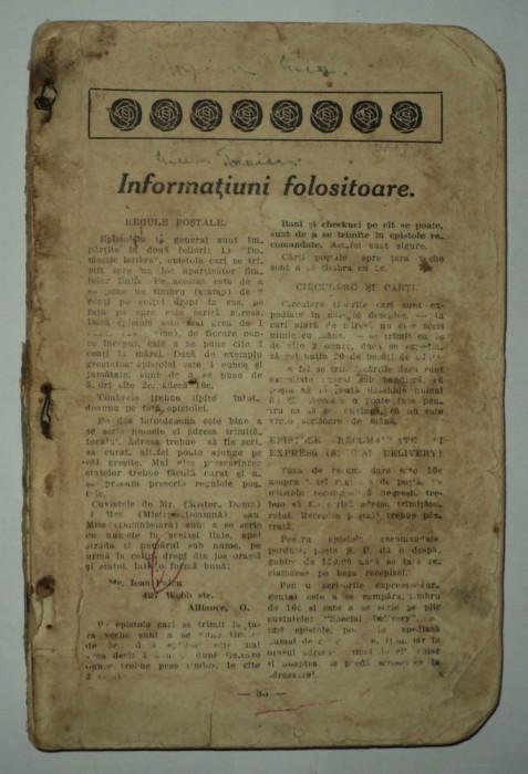 Almanah incomplet 1917, cu multe informatii referitoare la emigrarea in America