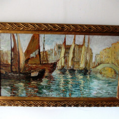 "Petre JINGA (Pejin) ""Barci in Venetia""- ulei/carton, 114x68 cm, tablou restaurat"