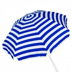 Umbrela pentru plaja, 2m, albastru/alb