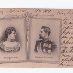 C.P ilustrata-Principesa Maria si principele Ferdinand,circulata febr 1904
