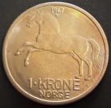 Moneda 1 COROANA - NORVEGIA, anul 1967   *cod 2268 --- A.UNC+
