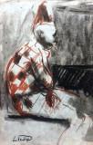 Lucian Liciu - Arlechin , tehnica mixta pe carton, Scene gen, Pastel, Altul