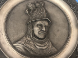 Farfurie veche din zinc,in basorelief,Rembrandt van Rijn 1606-1669