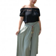 Pantaloni dama lejeri Adelina cu croi evazat si elastic in talie ,nuanta de verde