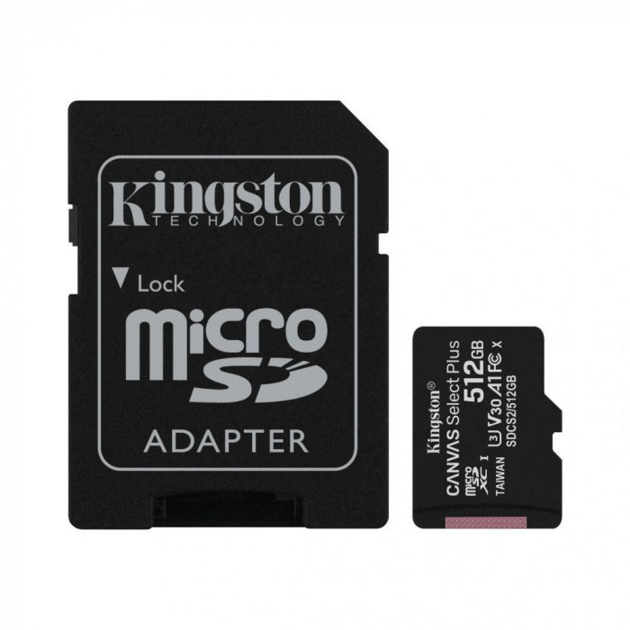 Micro SDXC Kingston Canvas Select Plus, 512GB, Class 10, UHS-I Perform, U1, V10