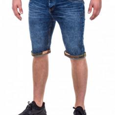 Blugi scurti barbati albastri slim fit casual P415