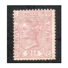158-GB-ANGLIA 1873=VICTORIA,Mi 40x=21/2-lila rosa-hartie alba,urme de SARNIERA, Nestampilat