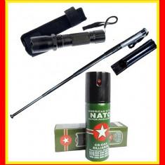 Lanterna electrosoc Spray nato cu Piper Baston telescopic Autoaparare