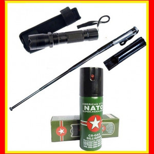 Lanterna electrosoc Spray nato cu Piper Baston telescopic Autoaparare