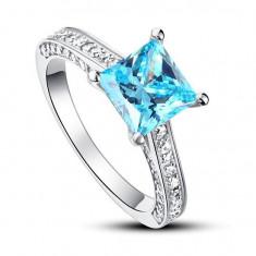 Inel Borealy Argint 925 Simulated Diamond 1.5 Carat Princess Cut Fancy Blue Marimea 6