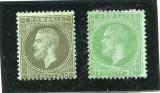 1872 , ROMANIA , Lp 38a ,38b , Carol I Em.Paris , 1 1/2+3 Bani - nestampilate