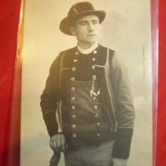 Ilustrata - Costum popular barbatesc din Coray Franta, interbelica