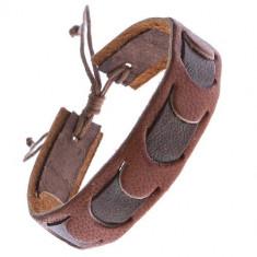 Brăţară din piele maro cu o bandă de culoare mai închisă