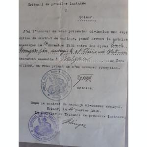 ACTE NOTARIALE VECHI 1925 -ALSACIA LORENA (FRANTA) -ELSSAS LOTHRINGEN (GERMANIA)