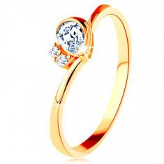 Inel din aur galben de 14K - lacrimă transparentă, două zirconii, braţe îndoite - Marime inel: 53