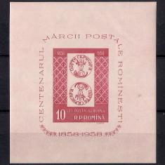 1958 - Centenarul marcii postale romanesti colita nedantelata ne