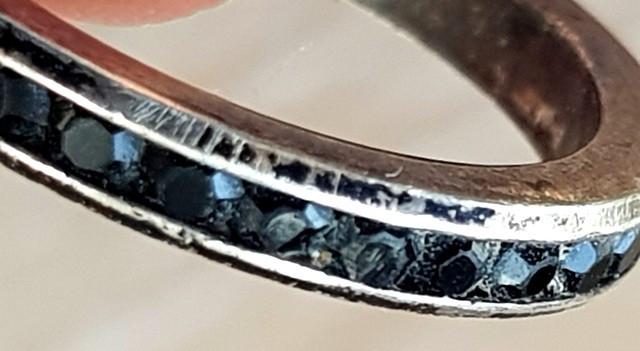 Inel TENIS- CRISTAL NEGRU  - argint 925-MANUFACTURA-tip verighete