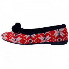 Papuci de casa dama, din textil, marca Gioseppo, 16453-69, alb cu rosu , marime: 40