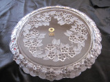 TAVA / PLATOU TORT CRISTAL WALTHER WEST GERMANY - DECOR FLORAL IN RELIEF 33.5 CM