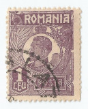 *Romania, LP 72/1929, Ferdinand - uzuale, 1 leu violet, eroare 4, oblit., Stampilat