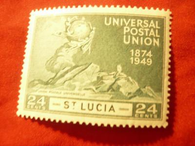 Timbru St.Lucia 1949 UPU , val. 24c foto