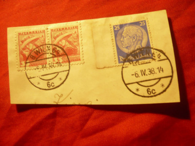 Fragment cu circulatie mixta Austria si Germania 1938 foto